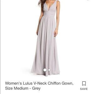 WORN ONCE- Lulu's Grey Chiffon Bridesmaid Dress XS
